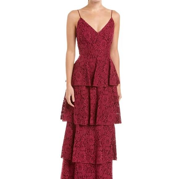 Monique Lhuillier Dresses | Tiered Lace Burgundy Gown Dress | Poshmark